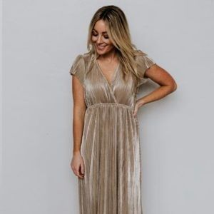 Athena gold pleated maxi dress